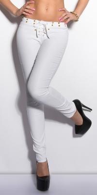 Pantaloni piele ecologica sexy cu siret si cu tinte