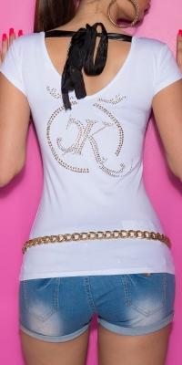 Bluze fashion dama cu strasuri care se leaga pe spate