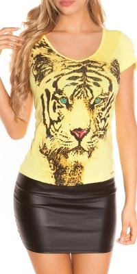Tricouri dama sexy cu tiger imprimeu si crapaturi