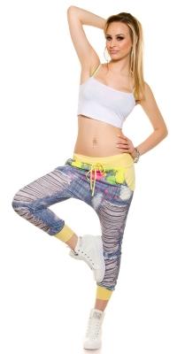 Pantaloni sport cu turul lasat la moda cu imprimeu de blugi