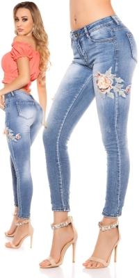 Blugi skinny Sexy aspect uzat w Flower Embroidery