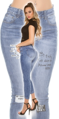 Blugi skinny la moda 7_8 cu imprimeu