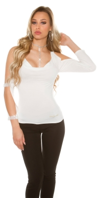 Bluze maneca lunga Sexy cu cu despicaturi la maneca si strasuri