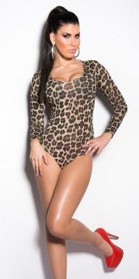 Body cu maneca lunga si imprimeu leopard sexy