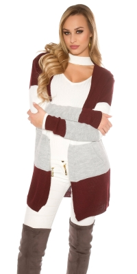 Cardigan la moda hooded cu dungi