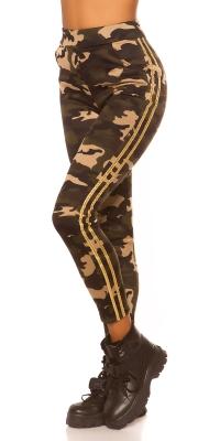 Colanti la moda model camuflaj cu dunga contrast