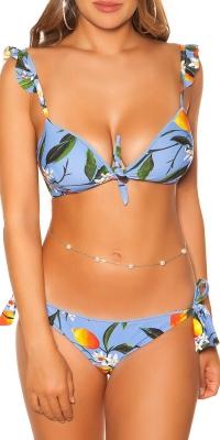 Costum de baie in doua piese Sexy cu ruffles cu flori imprimeu