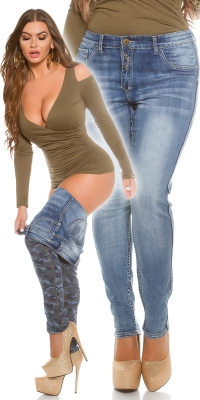 Curvy Girls fashion 2Way model camuflaj Blue Denim