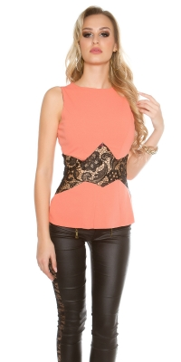 Elegant fashion top cu dantela transparent