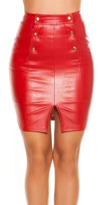 Fuste mini Sexy Leatherer look cu talie inalta