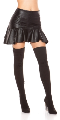 Fuste mini Sexy leatherette cu flounce