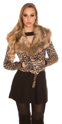 Jachete dama la moda Biker Look Animal imprimeu si blana artificiala