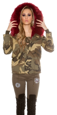 Jachete dama la moda Hooded in model camuflaj