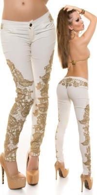 Pantaloni sexy piele ecologica cu broderie