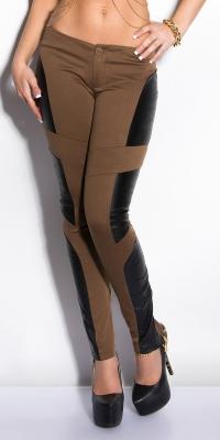 Pantaloni colanti sexy cu insertii piele