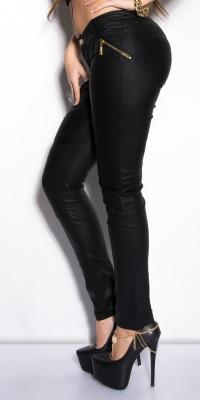 Pantaloni colanti sexy cu fermoar piele ecologica