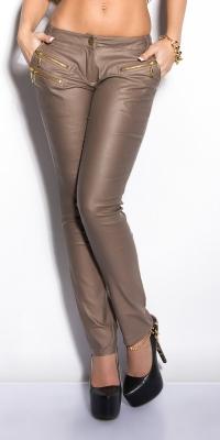 Pantaloni piele ecologica sexy cu fermoar