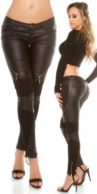 Pantaloni sexy cu insertii piele ecologicafermoar