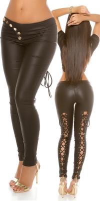 Pantaloni sexy piele ecologica cu dantela