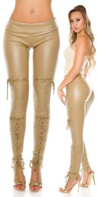 Pantaloni sexy piele ecologica cu siret