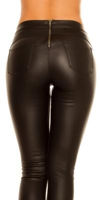 Pantaloni stramti Sexy thermo piele ecologica fermoar la spate