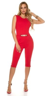 Pantaloni trei sferturi Salopete dama sexy cu curea aurie