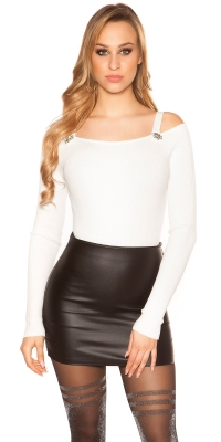 Pulover Sexy Rib Cold Shoulder cu strasuri