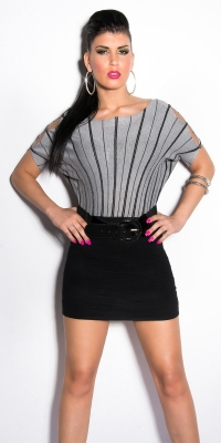 Rochie mini Sexy tricotting cu cu despicaturi la maneca si curea