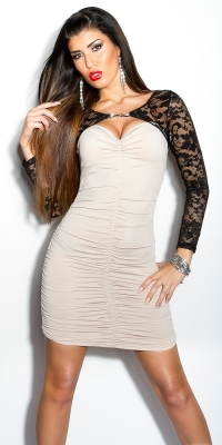 Rochie mini sexy dantela-cu strasuri-brosa