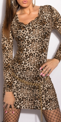 Rochie mini sexy tricot cu animalprint