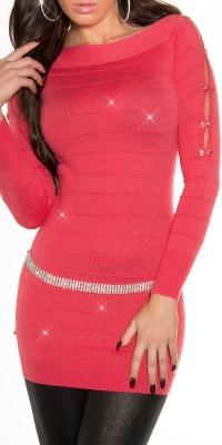 Rochie mini sexy tricot fin-cu sclipici-effect