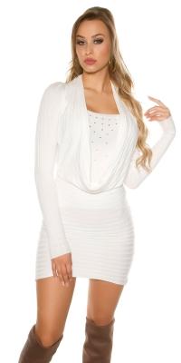 Rochie mini Sexy tricot cu strasuri