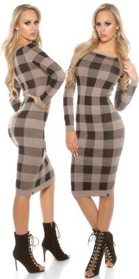 Rochii sexy tricot fin checkered