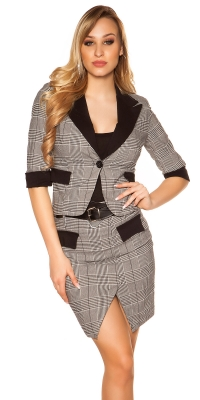 Sacouri la moda maneca scurta checkered