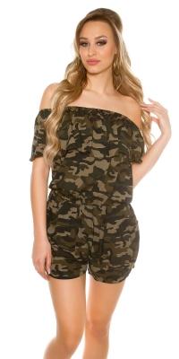 Salopeta Sexy Off shoulder model camuflaj