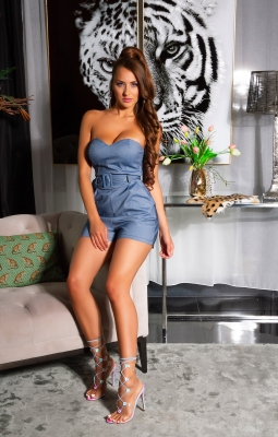 Salopete dama sexy denim look