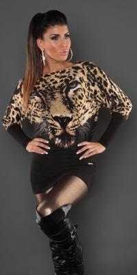 Pulover sexy casmir- cu leopard-face