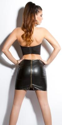 sexy leatherlookskirt cu fermoar