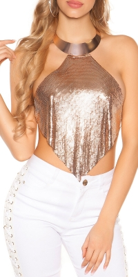 Sexy LeT s de petrecere statement neck chainsequins Top