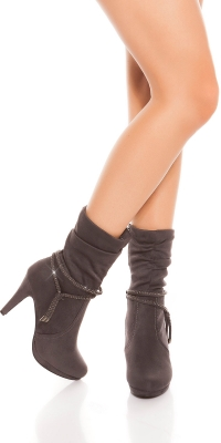 Sexy ankle boot cu sclipici siret