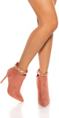 Sexy high heel ankle boots cu pearl decoratiuni