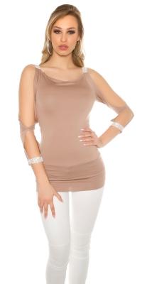 Sexy maneca lunga sleeve open cu strasuri