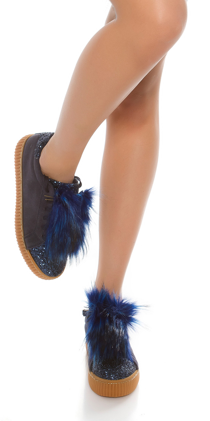 Adidasi cu platforma la moda cu sclipici si blana artificiala