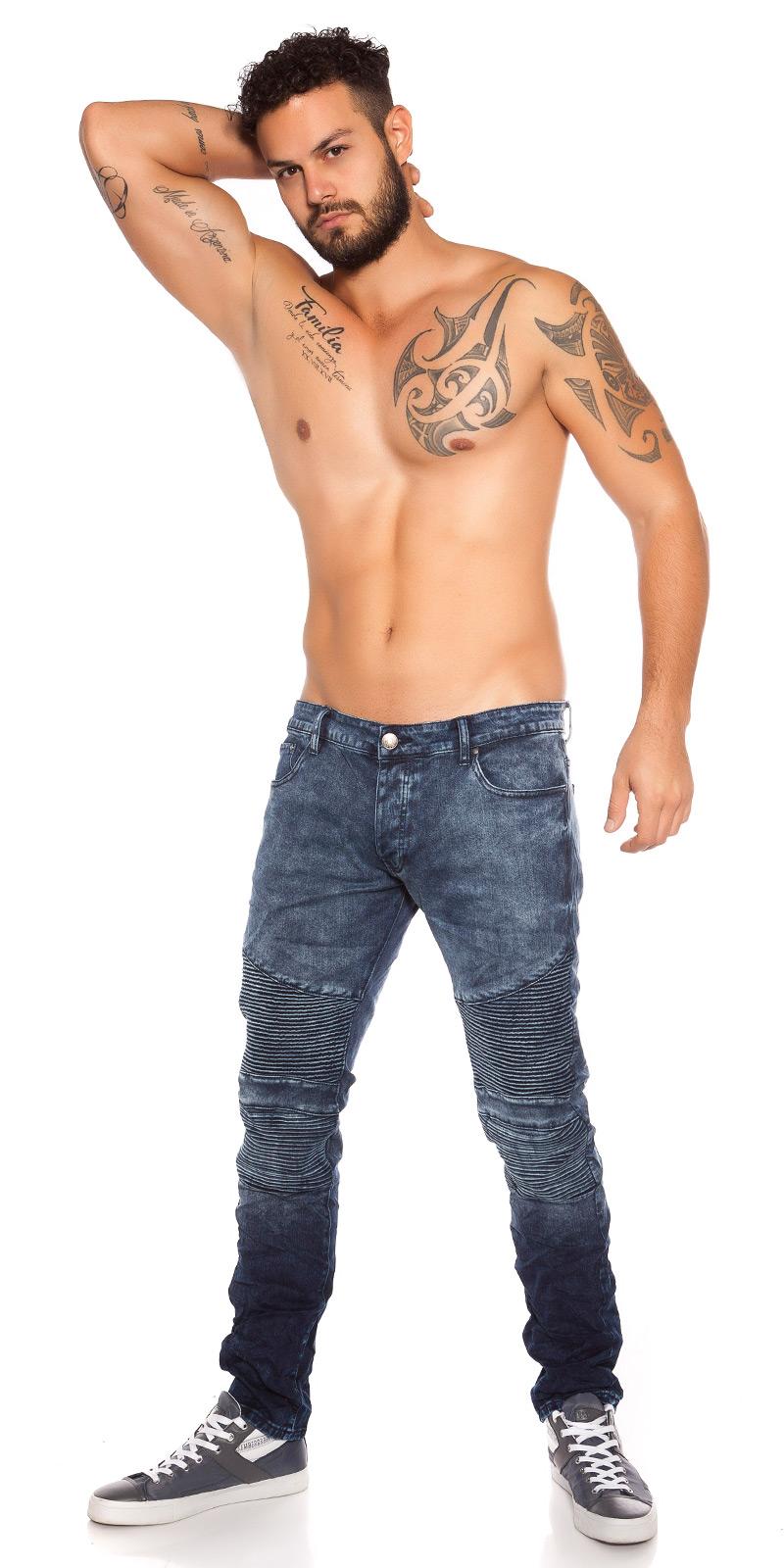 Blugi la moda model biker pentru barbati