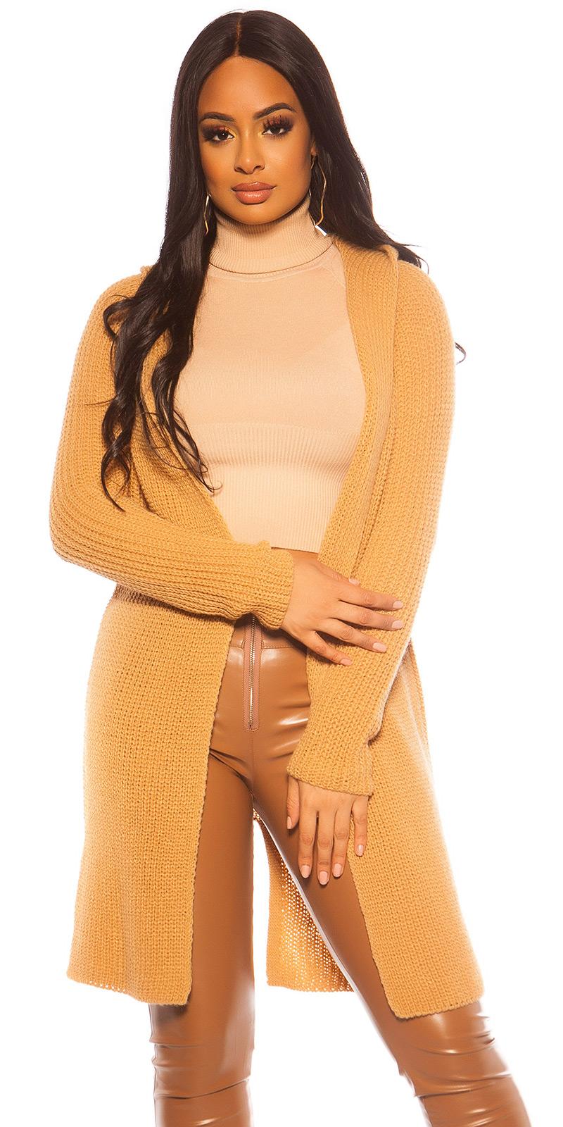 Cardigan sexy model gros tricot cu gluga