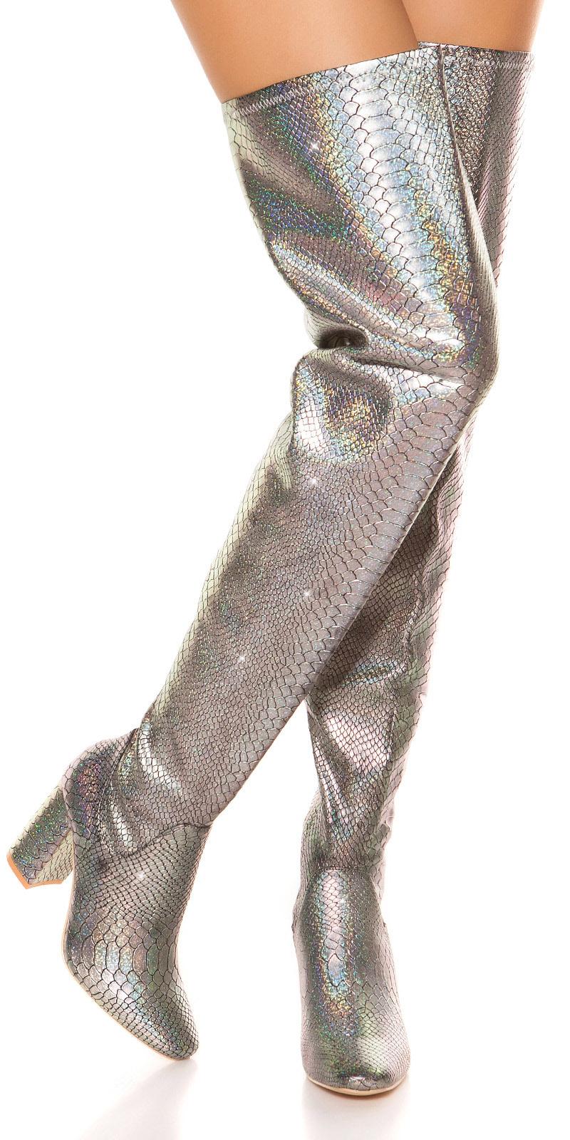 Cizme peste genunchi Sexy block heel reptile look