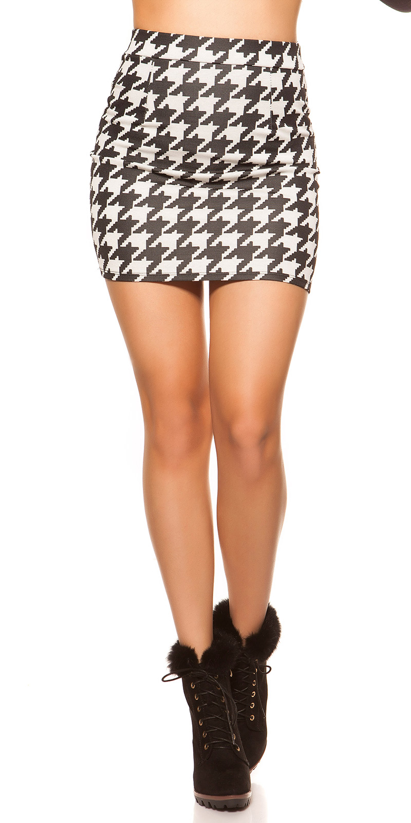 Fuste mini Sexy in houndstooth model