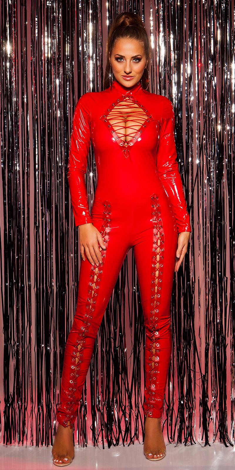 Helanca sexy LatexLookJumpsuit w. siret