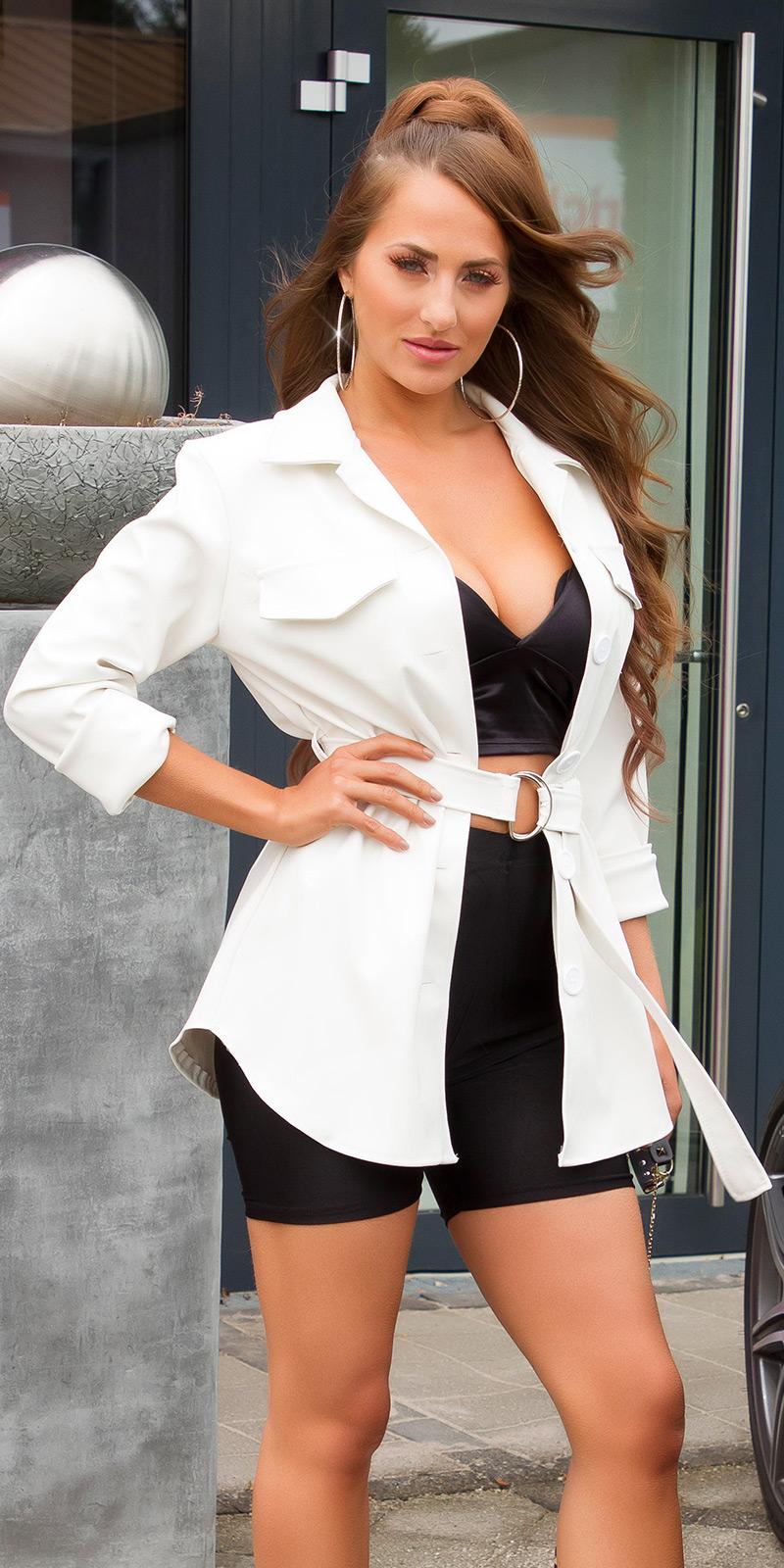 Jachete dama Sexy Fashionista piele ecologica cu curea