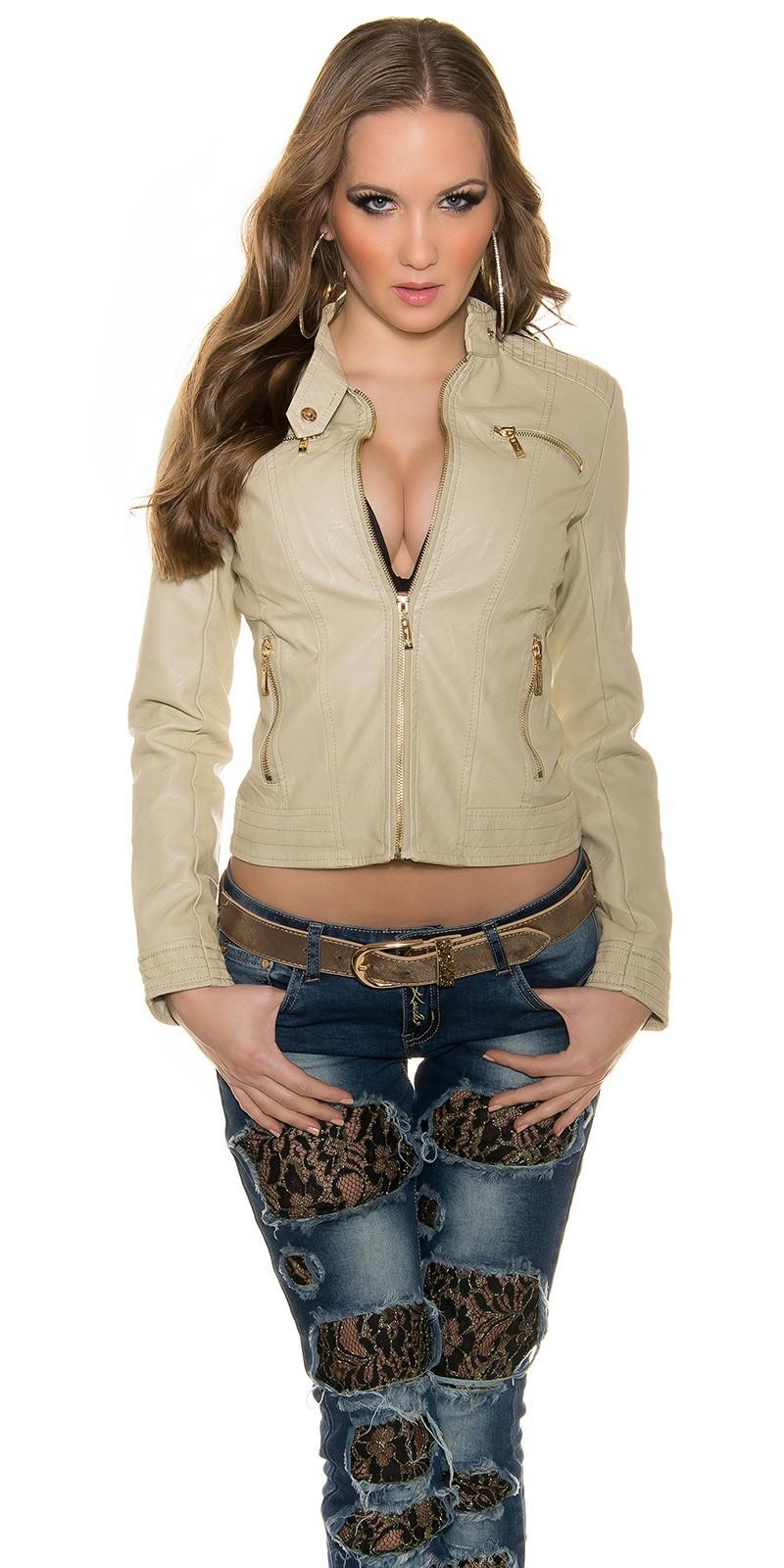 Jachete dama sexy piele ecologica cu fermoar